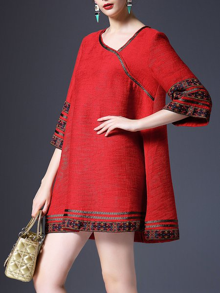 Red Embroidered 3/4 Sleeve Polyester Mini Dress