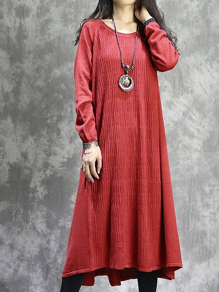 High Low Long Sleeve Crew Neck Linen Dress