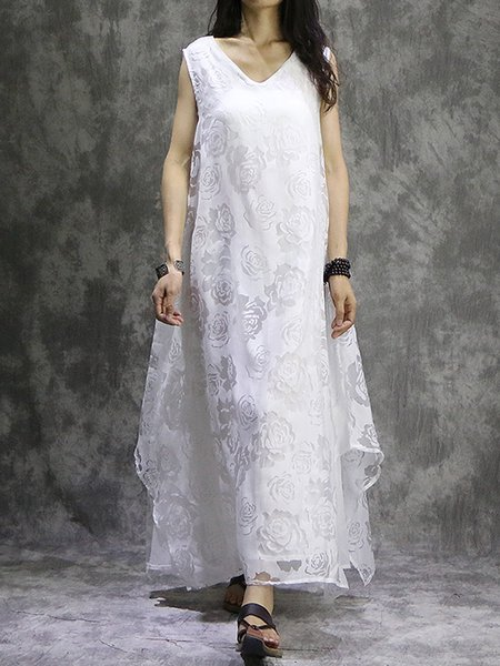 V Neck Sleeveless Cotton Linen Dress