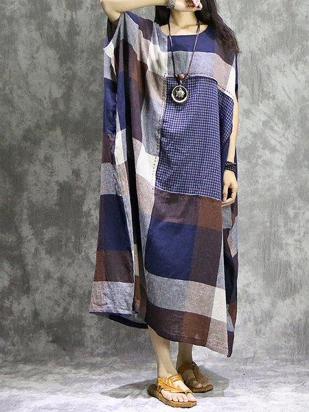 Shift Batwing Checkered/Plaid Linen Dress