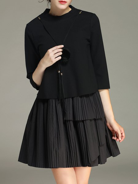 Black Plain Pleated Stand Collar Simple Two Piece Mini Dress