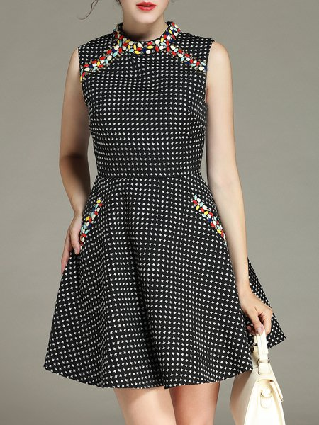 Black Geometric A-line Printed Sleeveless Mini Dress