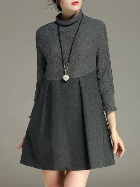 Gray Cotton-blend Long Sleeve Mini Dress