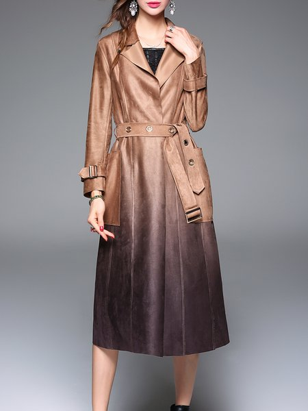 Khaki Gradient A-line Long Sleeve Trench Coat with Belt