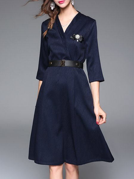 Blue Cotton-blend Appliqued Simple V Neck A-line Wrap Dress with Belt