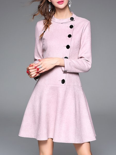 Simple A-line Buttoned 3/4 Sleeve Stand Collar Plain Mini Dress