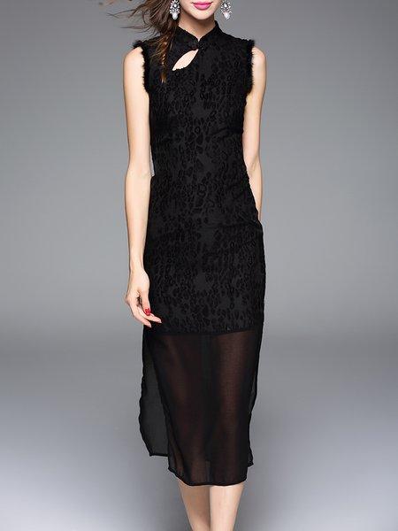 Black Sleeveless Stand Collar Tulle Paneled Midi Dress