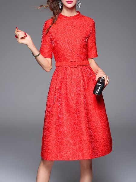 Red Elegant A-line Polyester Midi Dress with Belt