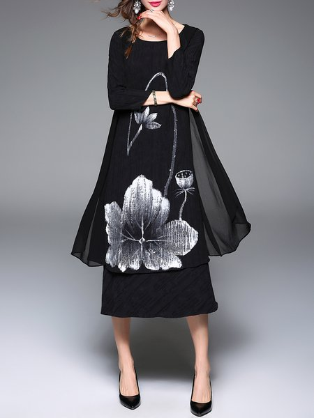 Black Tulle Paneled Printed Vintage Midi Dress