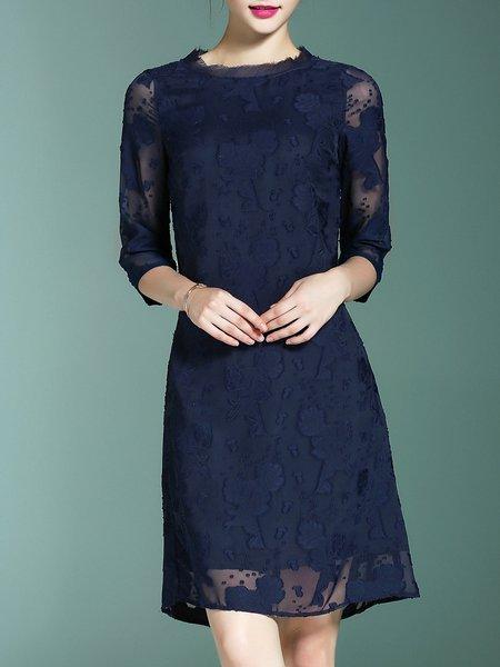 Half Sleeve Devore Elegant H-line Stand Collar Mini Dress