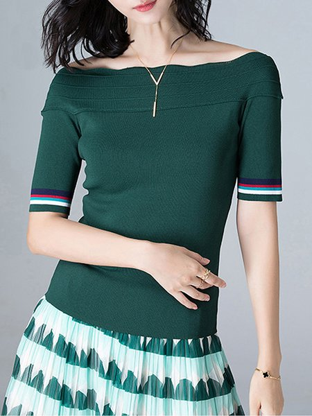 Green Jersey Short Sleeve Off Shoulder Sweater - StyleWe.com