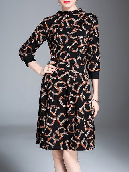 Black Printed 3/4 Sleeve Stand Collar Midi Dress