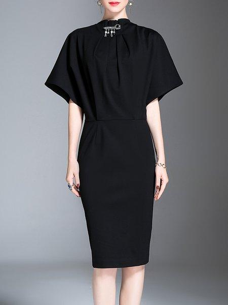 Slit Sheath Short Sleeve Midi Dress