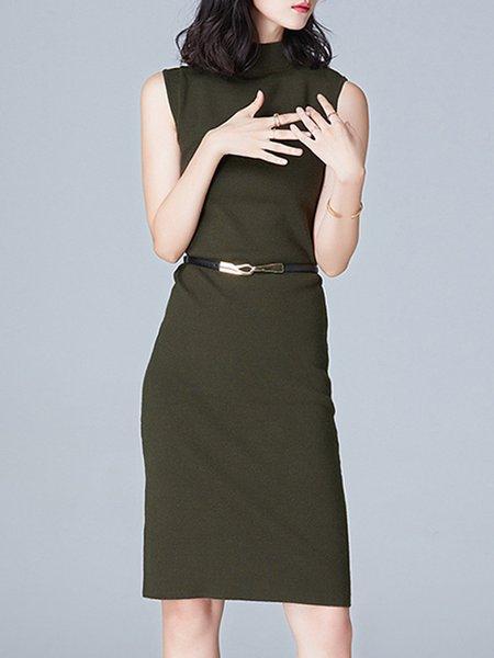 Jersey Nylon Sleeveless Solid Midi Dress
