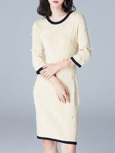 Apricot 3/4 Sleeve Sheath Crew Neck Beaded Midi Dress