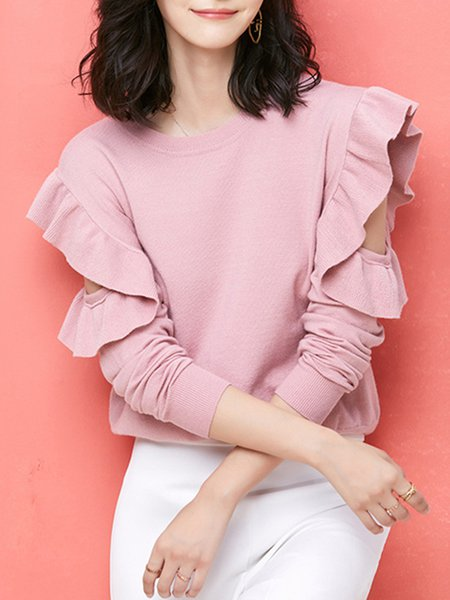 Girly Cold Shoulder Rayon Sweater