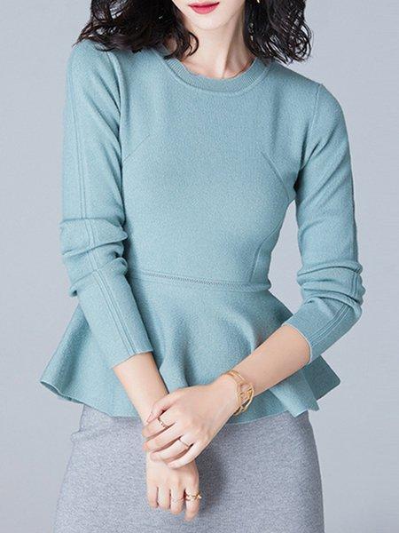 Blue Crew Neck Rayon Jersey Elegant Sweater