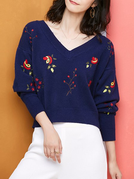 Floral Girly V Neck Long Sleeve Knitted Sweater