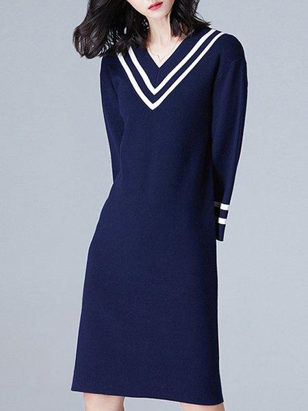 Jersey V Neck Casual Shift Long Sleeve Midi Dress