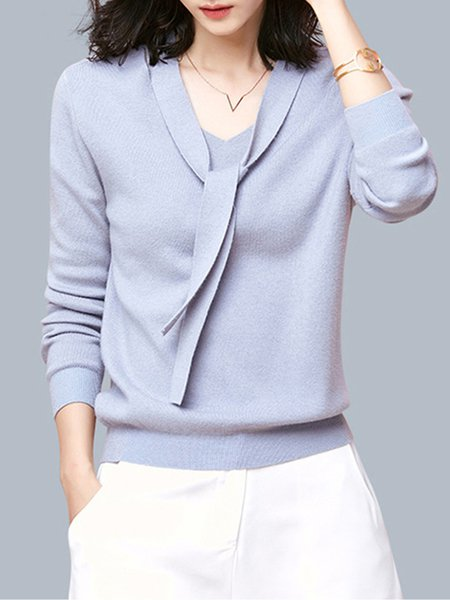 Long Sleeve Girly V Neck Solid Jersey Sweater