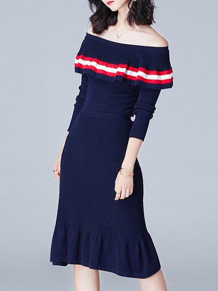 Elegant Ribbed Off Shoulder Top With Skirt