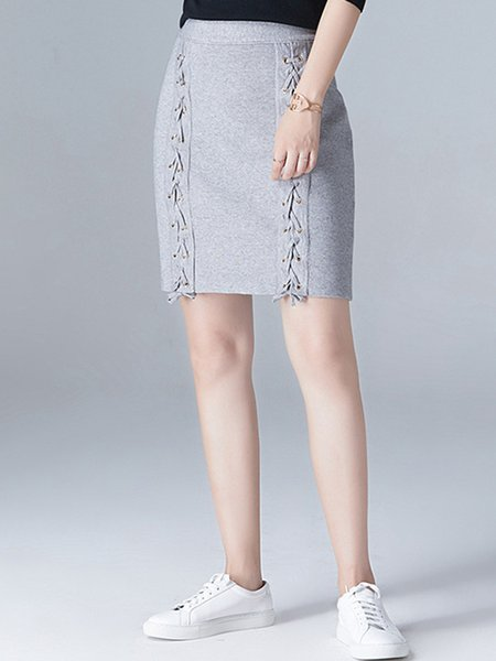 Solid Elegant Rayon Lace Up Midi Skirt