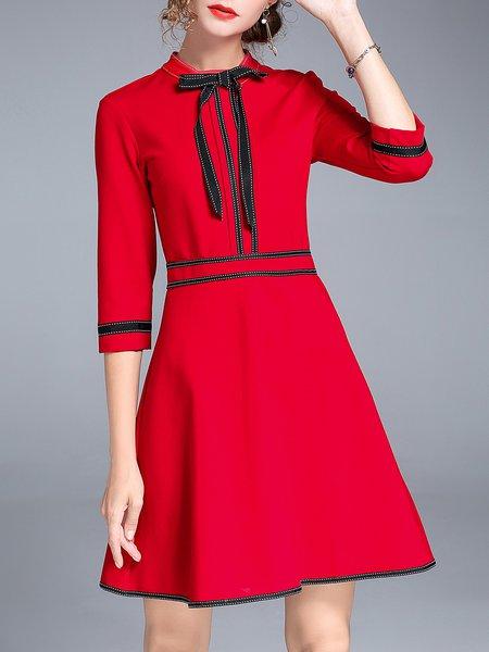 Bow A-line 3/4 Sleeve Elegant  Midi Dress