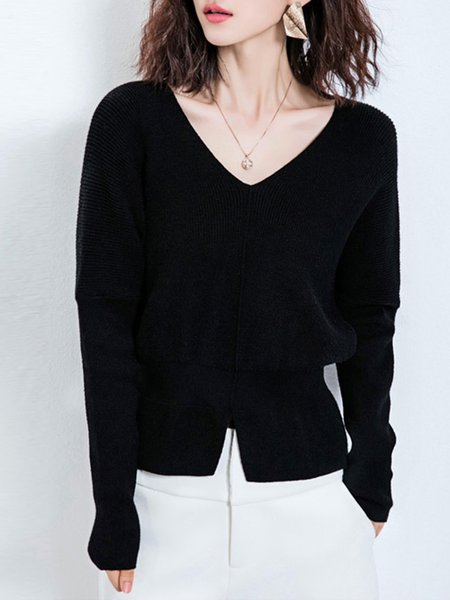 V Neck Slit Casual Long Sleeve Sweater