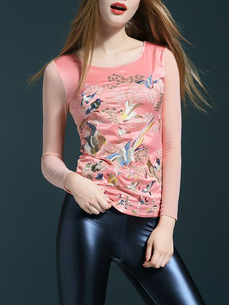 Pink Sheath Embroidered Casual Long Sleeved Top