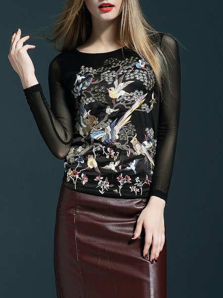 Black Embroidered Paneled Crew Neck Sheath Long Sleeved Top
