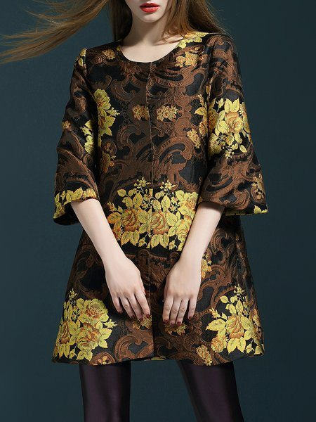 Yellow Jacquard 3/4 Sleeve Casual Polyester Coat