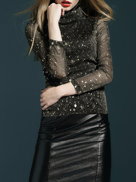 Golden Glitter-finished Long Sleeved Top