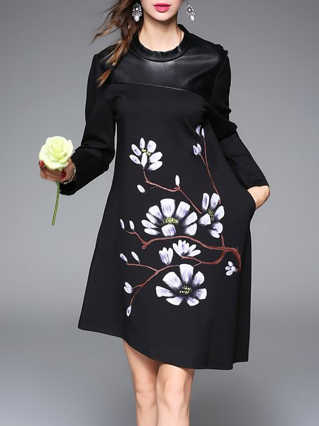 Black Long Sleeve Crew Neck PU Paneled Midi Dress