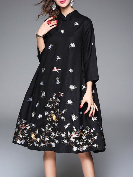 Black Stand Collar Floral-embroidered 3/4 Sleeve Floral Midi Dress