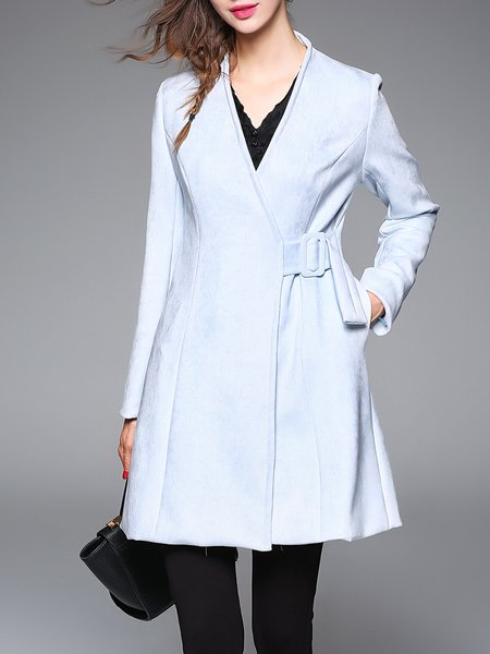 Light Blue H-line Long Sleeve Solid Coat