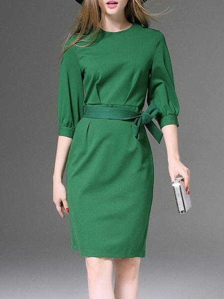 Green Plain Work Balloon Sleeve Pencil Midi Dress