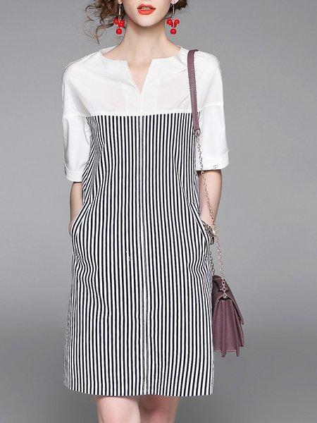 Stripes Casual Crew Neck Shorts Sleeve Midi Dress