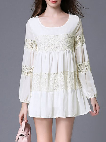 White Floral Long Sleeve Shift Mini Dress