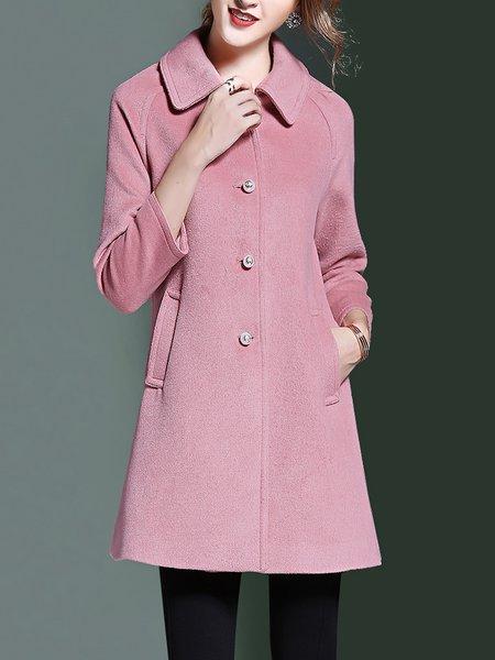 Shirt Collar Elegant Wool Blend Coat
