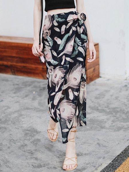 Multicolor Polyester Casual Asymmetrical Midi Skirt