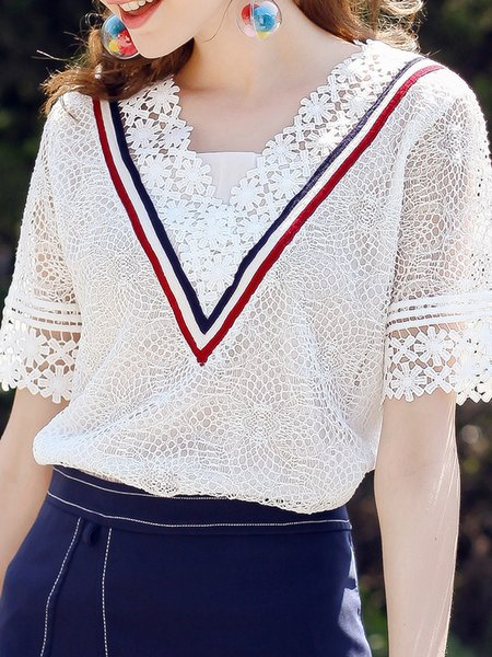 Shorts Sleeve Guipure Lace Tops