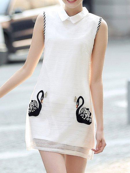 White Shift Sleeveless  Shirt Collar Mini Dress