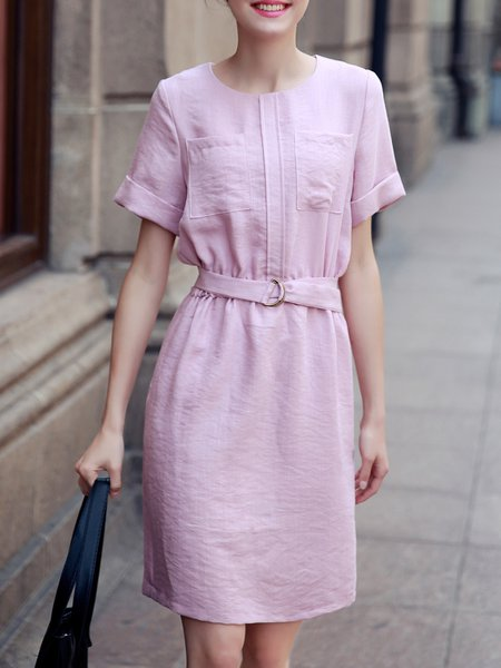 Casual Solid Short Sleeve Sheath Midi Dress