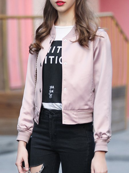 Pink Paneled Casual Bomber Jacket