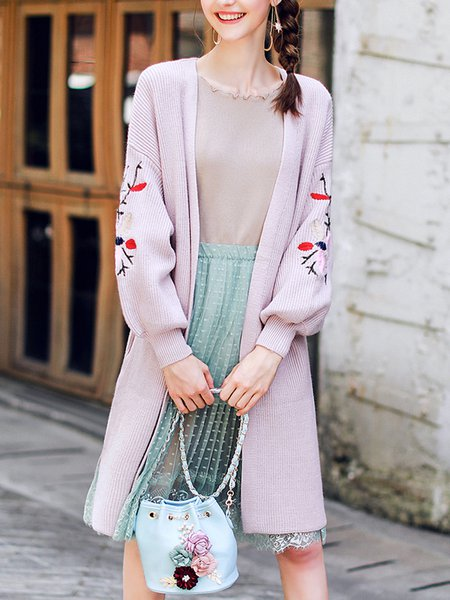Floral-embroidered Girly Balloon Sleeve Cardigan