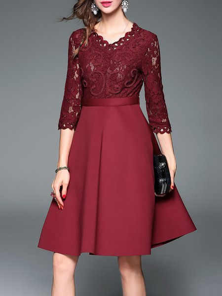 Red 3/4 Sleeve Guipure lace V Neck A-line Midi Dress