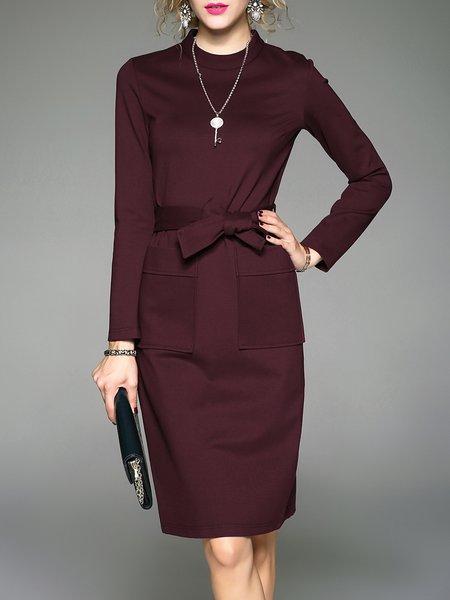 Wine Red Pockets Elegant Midi Dress With Belt