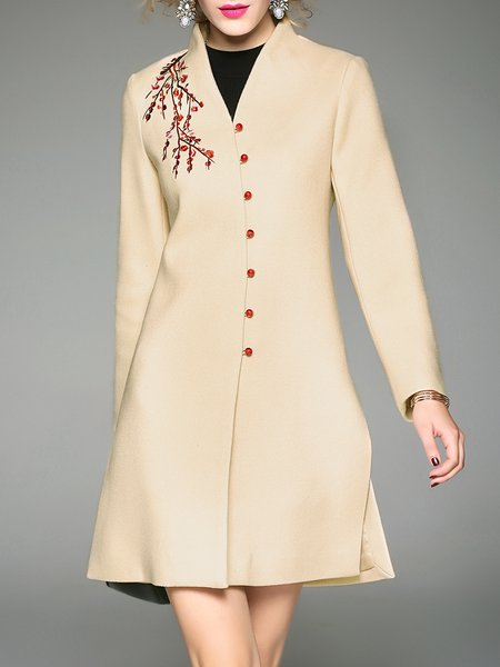 Long Sleeve Buttoned Slit Polyester Embroidered Coat