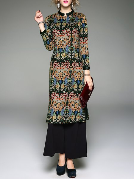 3/4 Sleeve Stand Collar Printed Two Piece Jumpsuit