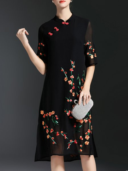 Vintage Silk-blend Half Sleeve A-line Embroidered Slit Stand Collar Midi Dress